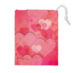 Hearts Pink Background Drawstring Pouches (extra Large)