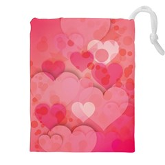 Hearts Pink Background Drawstring Pouches (xxl)