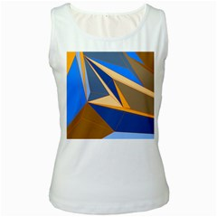 Abstract Background Pattern Women s White Tank Top