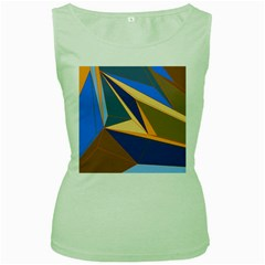 Abstract Background Pattern Women s Green Tank Top