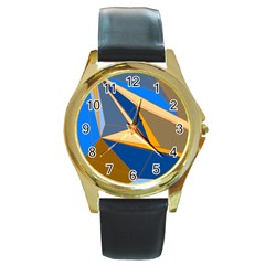 Abstract Background Pattern Round Gold Metal Watch
