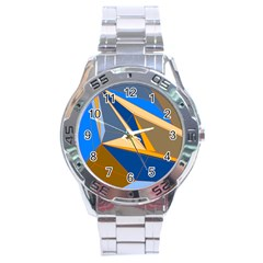 Abstract Background Pattern Stainless Steel Analogue Watch