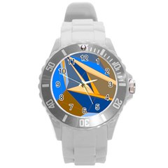 Abstract Background Pattern Round Plastic Sport Watch (l)