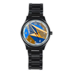 Abstract Background Pattern Stainless Steel Round Watch
