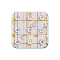 Icon Media Social Network Rubber Square Coaster (4 Pack)