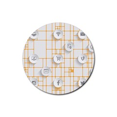 Icon Media Social Network Rubber Round Coaster (4 Pack)