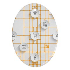 Icon Media Social Network Oval Ornament (Two Sides)