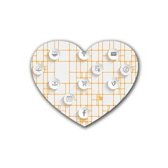 Icon Media Social Network Heart Coaster (4 Pack)