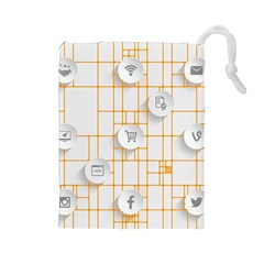 Icon Media Social Network Drawstring Pouches (Large)