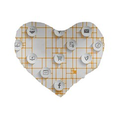 Icon Media Social Network Standard 16  Premium Flano Heart Shape Cushions