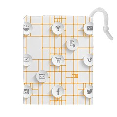 Icon Media Social Network Drawstring Pouches (Extra Large)