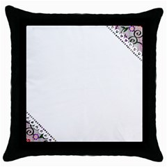 Floral Ornament Baby Girl Design Throw Pillow Case (black)