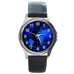 Network Networking Europe Asia Round Metal Watch