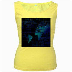 Network Networking Europe Asia Women s Yellow Tank Top