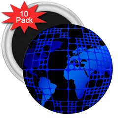 Network Networking Europe Asia 3  Magnets (10 Pack)