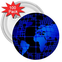 Network Networking Europe Asia 3  Buttons (100 Pack)