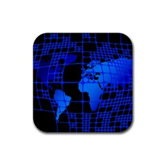 Network Networking Europe Asia Rubber Coaster (square)
