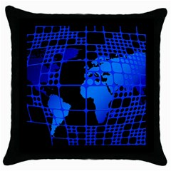 Network Networking Europe Asia Throw Pillow Case (black)