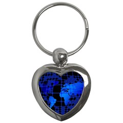 Network Networking Europe Asia Key Chains (heart)