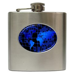 Network Networking Europe Asia Hip Flask (6 Oz)
