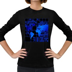 Network Networking Europe Asia Women s Long Sleeve Dark T Shirts