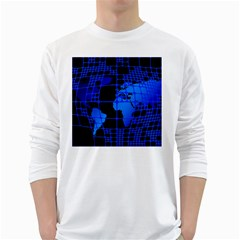 Network Networking Europe Asia White Long Sleeve T-Shirts
