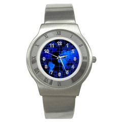 Network Networking Europe Asia Stainless Steel Watch
