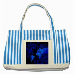 Network Networking Europe Asia Striped Blue Tote Bag