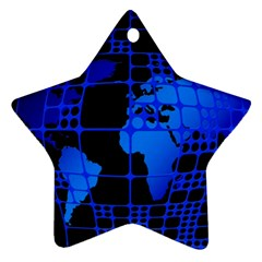 Network Networking Europe Asia Star Ornament (two Sides)