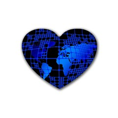 Network Networking Europe Asia Heart Coaster (4 Pack)