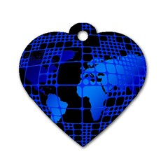 Network Networking Europe Asia Dog Tag Heart (One Side)