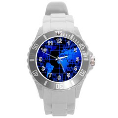 Network Networking Europe Asia Round Plastic Sport Watch (L)