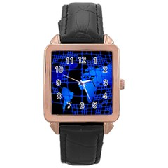 Network Networking Europe Asia Rose Gold Leather Watch