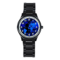 Network Networking Europe Asia Stainless Steel Round Watch
