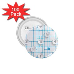 Icon Media Social Network 1 75  Buttons (100 Pack)