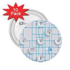 Icon Media Social Network 2 25  Buttons (10 Pack)