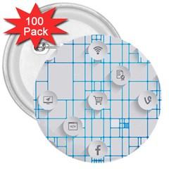 Icon Media Social Network 3  Buttons (100 pack)