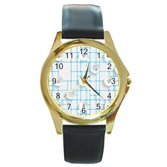 Icon Media Social Network Round Gold Metal Watch
