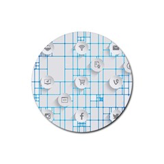 Icon Media Social Network Rubber Coaster (round)