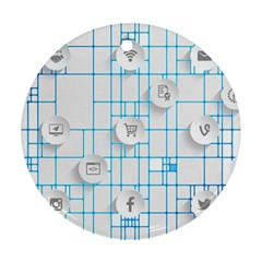 Icon Media Social Network Round Ornament (two Sides)