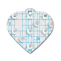 Icon Media Social Network Dog Tag Heart (one Side)