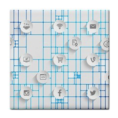 Icon Media Social Network Face Towel