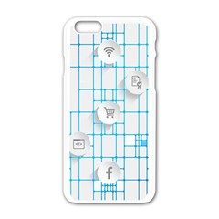 Icon Media Social Network Apple iPhone 6/6S White Enamel Case