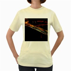 Highway Night Lighthouse Car Fast Women s Yellow T Shirt