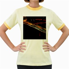 Highway Night Lighthouse Car Fast Women s Fitted Ringer T-Shirts