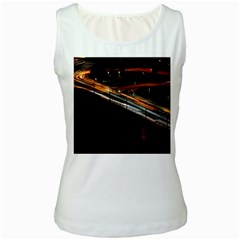 Highway Night Lighthouse Car Fast Women s White Tank Top