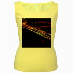 Highway Night Lighthouse Car Fast Women s Yellow Tank Top