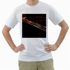 Highway Night Lighthouse Car Fast Men s T-Shirt (White) (Two Sided)