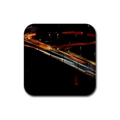 Highway Night Lighthouse Car Fast Rubber Square Coaster (4 Pack)