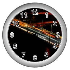 Highway Night Lighthouse Car Fast Wall Clocks (silver)